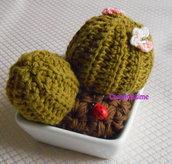 Cactus cuscino della suocera all'uncinetto con vaso quadrato- fatto a mano