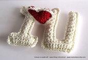 Spiegazione Pattern scritta I LOVE YOU con cuore a Crochet Uncinetto (idea regali di Natale e san valentino)