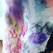 Sciarpa in seta dipinta a mano