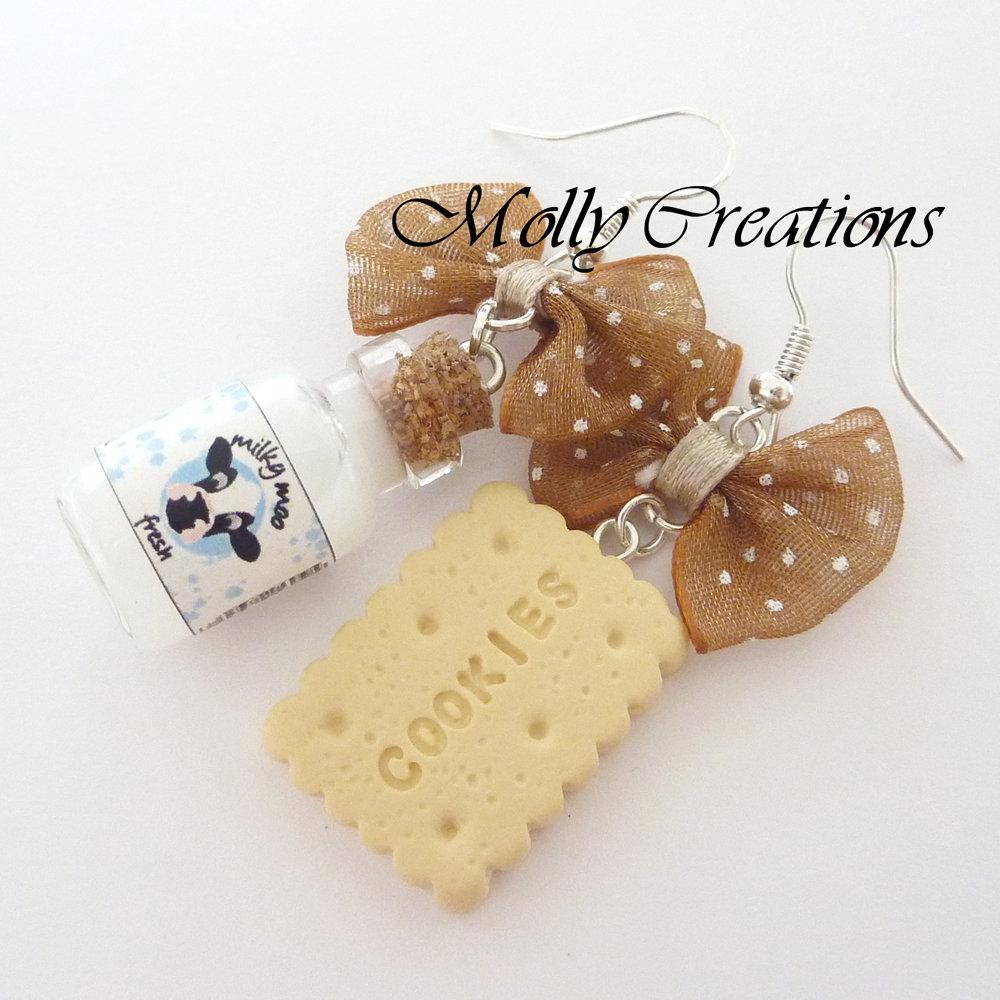 Orecchini latte e biscotto in Fimo