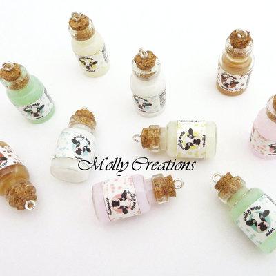 10 Ciondoli bottiglietta di latte in Fimo
