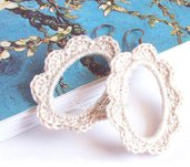Orecchini rétro in cotone color sabbia  realizzati all'uncinetto - Collezione Armonie