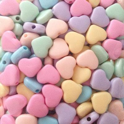 100 perle Cuore 10 mm col. pastello