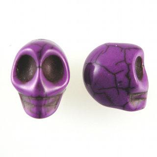 2 Perle Teschio 20 mm aulite col. viola