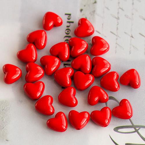 10 Perle Cuore 14x12 mm col. rosso
