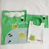 Set scuola 'Rane allo stagno': un bavaglio, un sacchetto portabavaglio e una sacca scuola veramente originali per il tuo bambino!!!