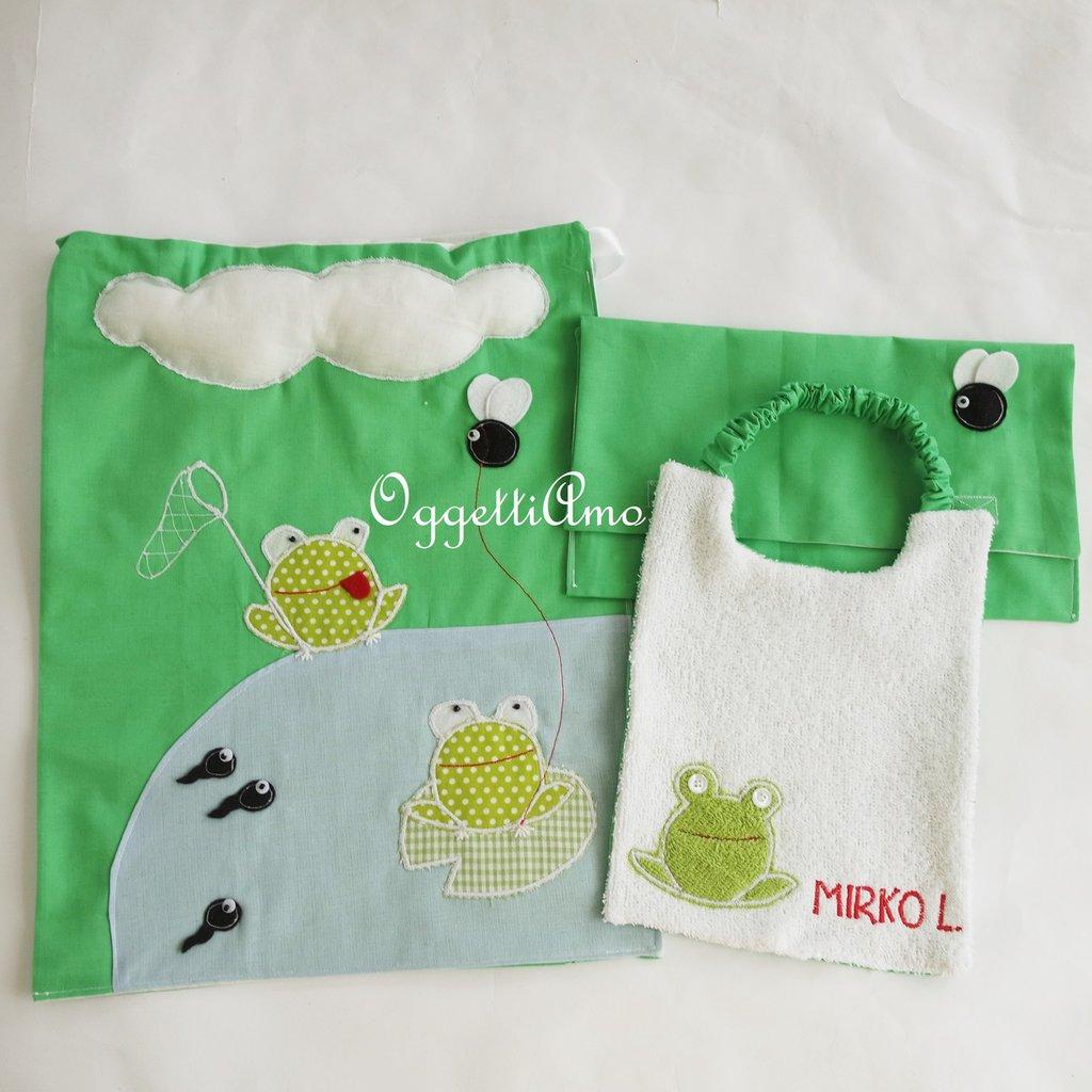 Set scuola 'Rane allo stagno': un asciugamano, bavaglio e sacca scuola veramente originali per il tuo bambino!!!