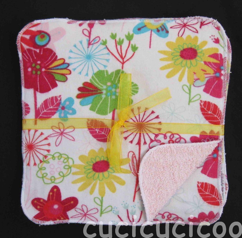 salviette cambio bebe lavabili  (fiori & rosa)