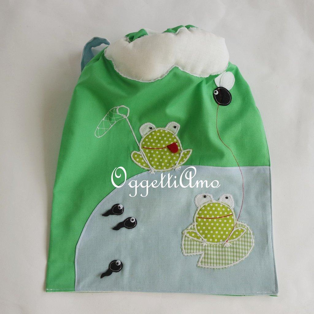 Sacca scuola 'Rane allo stagno': una sacca o uno zainetto per i bambini che amano la campagna!