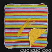 salviette cambio bebe lavabili  (strisce colorate & giallo)