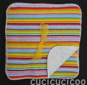 salviette cambio bebe lavabili  (strisce colorate & celeste)