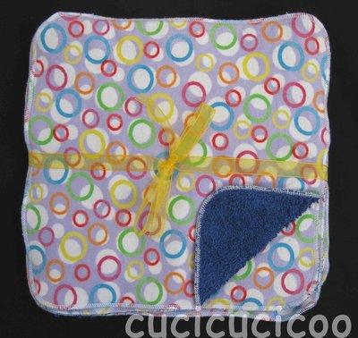 salviette cambio bebe lavabili  (cerchi lilla & blu)