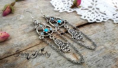 Orecchini chandelier pendenti argento azzurro mano fatima argento 925