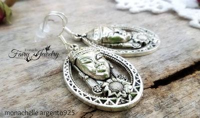 Orecchini dea pendenti monachelle argento 925 boho