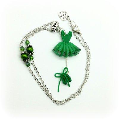 Collana con ciondolo tutù verde