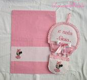 Completo Mongolfiera+Sacca Baby Minnie o Topolino  rosa+nome punto croce