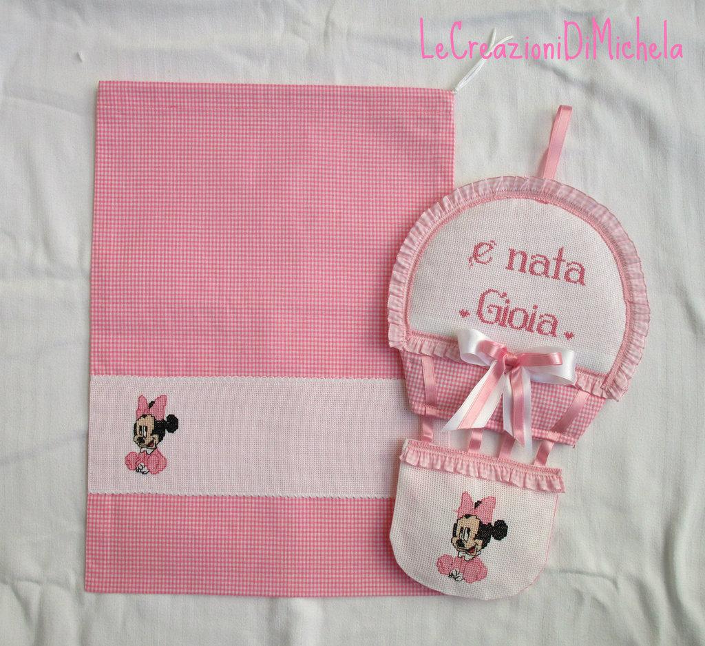 Preferenza Completo Mongolfiera+Sacca Baby Minnie o Topolino rosa+nome punto  BH47