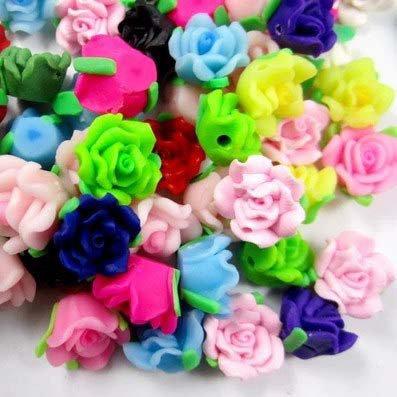10 Rose in Fimo 12 mm perle col. misti