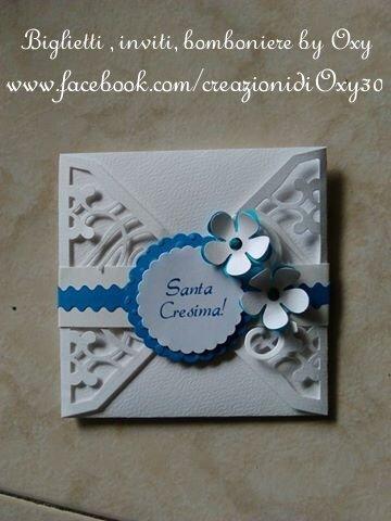 """Inviti per Comunione """" fiore blu"""""""