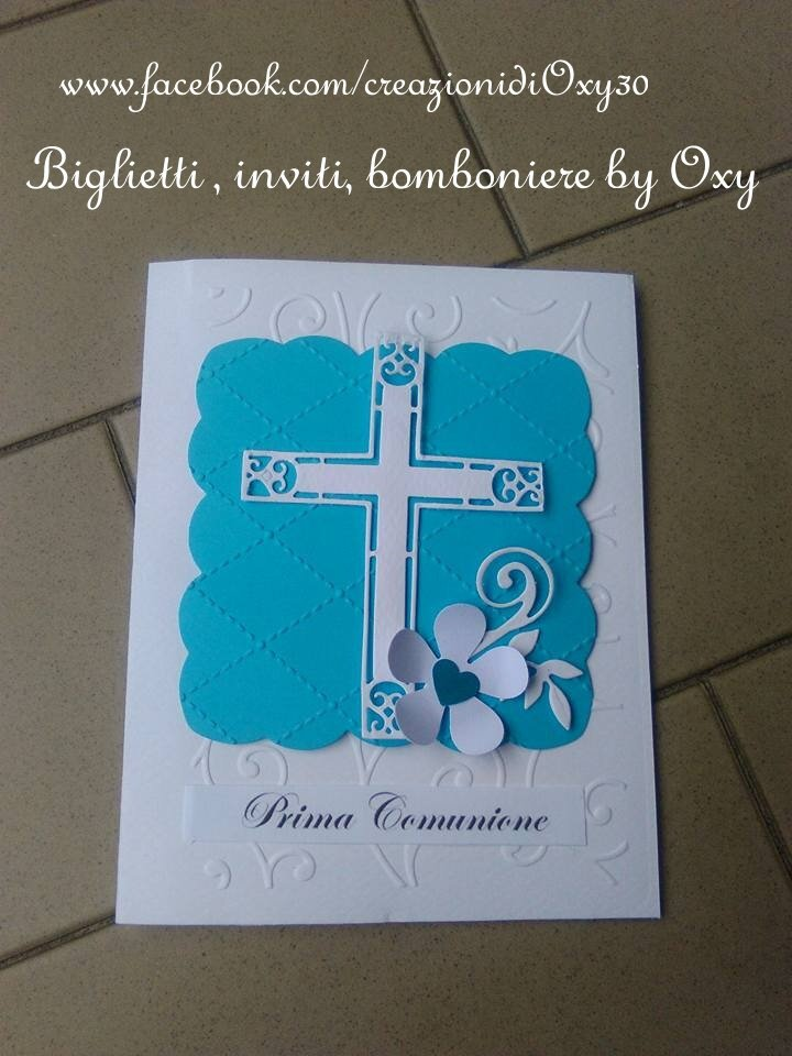 """Inviti per Comunione """"fiore-croce"""""""