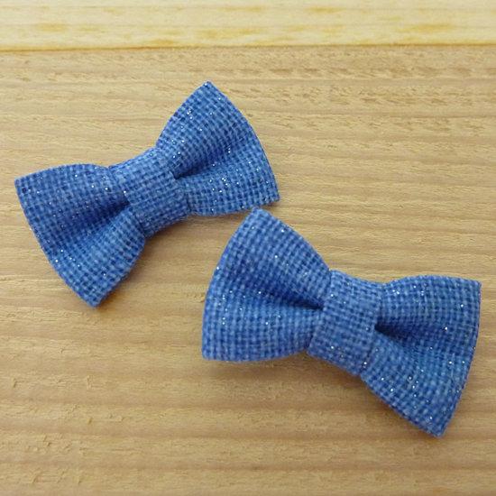 2 Fiocchi 30x20 mm applicazioni stoffa col. blu con brillantini