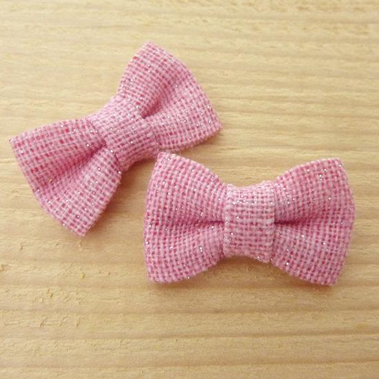 2 Fiocchi 30x20 mm applicazioni stoffa col. rosa con brillantini