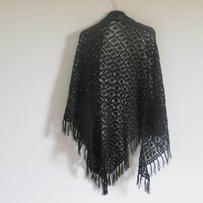 scialle triangolo in cotone nero