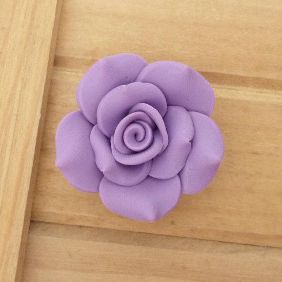 1 Rosa in Fimo 40 mm perla col. viola