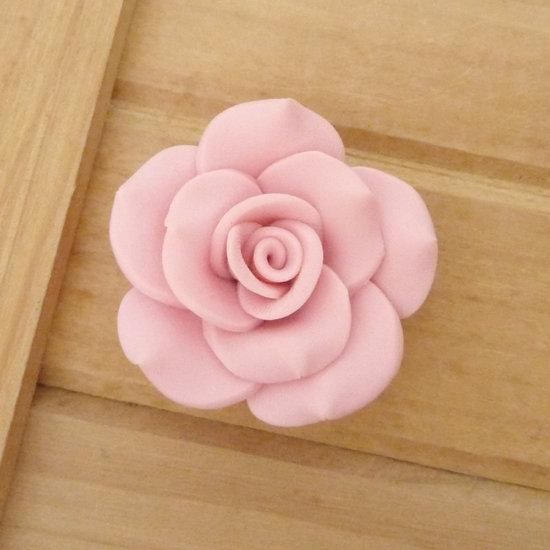 1 Rosa in Fimo 40 mm perla col. rosa