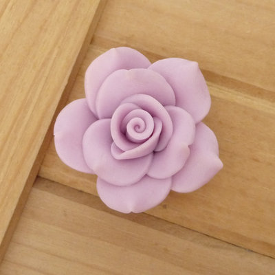 1 Rosa in Fimo 40 mm perla col. lilla