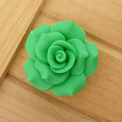 1 Rosa in Fimo 40 mm perla col. verde