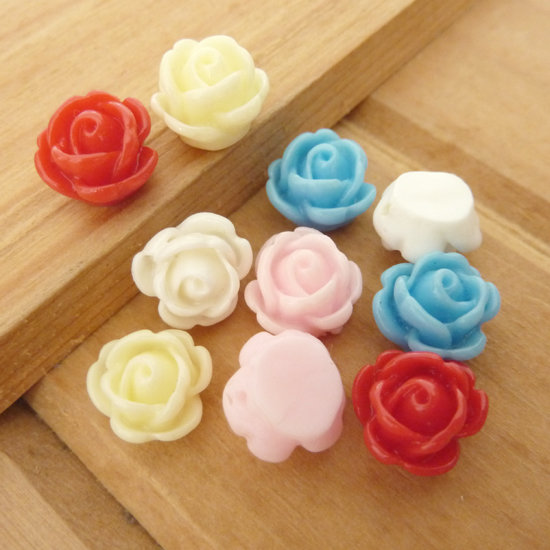 10 Rose in resina 10 mm perle col. misti