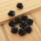 10 Rose in resina 10 mm perle col. nero