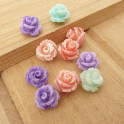 10 Rose in resina 8 mm perle col. misti