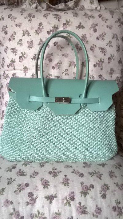 """borsa modello """"Birkin"""" colore verde chiaro tiffany"""