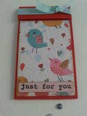 Blocchetto note borsa block notes tascabile rosso con uccellini