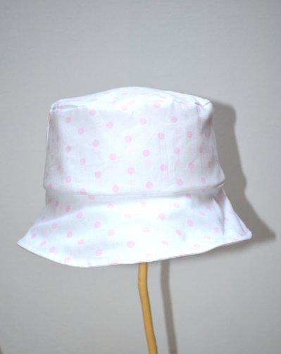 Cappello modello pescatore in cotone con pois rosa