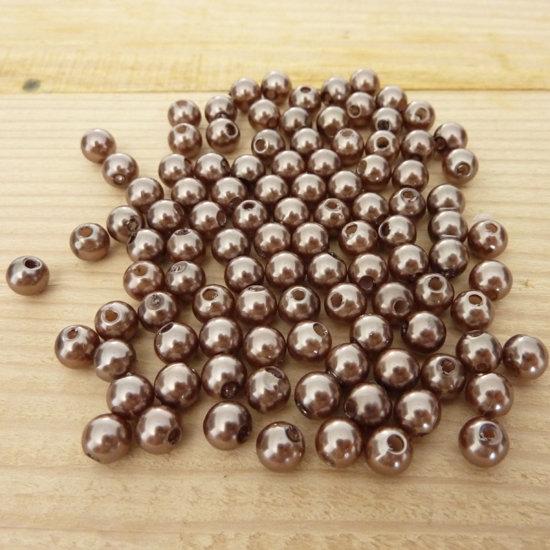 100 Perline 6 mm perle col. marrone