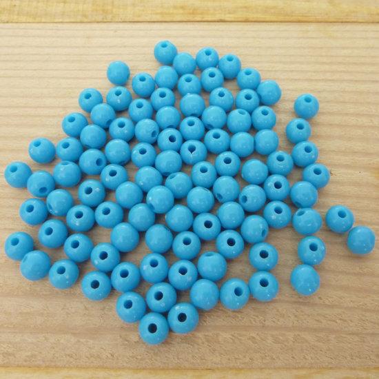 100 Perline 6 mm perle col. azzurro