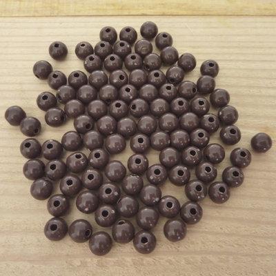 100 Perline 6 mm perle col. marrone scuro