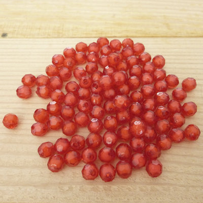 100 Perline 6 mm perle col. rosso trasparente