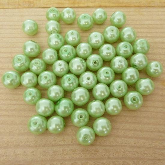 50 Perle 8 mm perline col. verde perlato