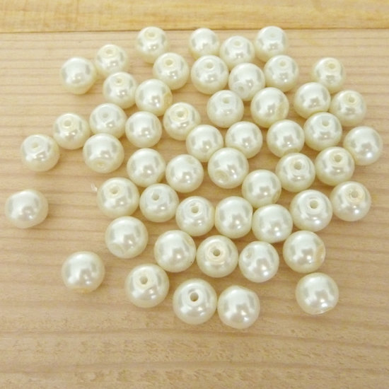 50 Perle 8 mm perline col. avorio perlato