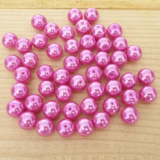 50 Perle 8 mm perline col. fucsia perlato