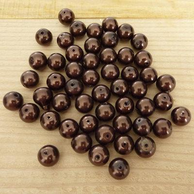 50 Perle 8 mm perline col. marrone perlato