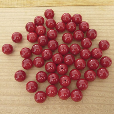 50 Perle 8 mm perline col. rosso