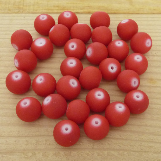30 Perle 10 mm vetro col. rosso