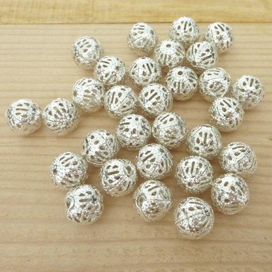 30 Perle 10 mm metallo col. argento