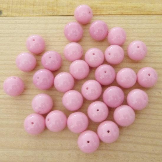 30 Perle 10 mm vetro col. rosa
