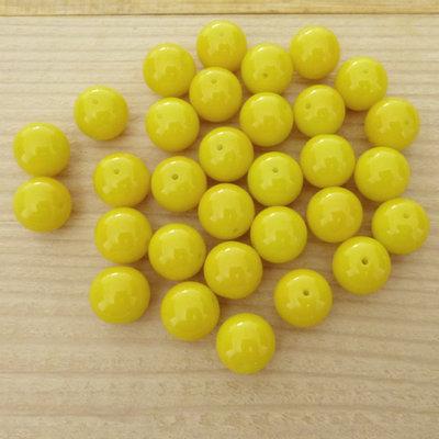 30 Perle 10 mm vetro col. giallo